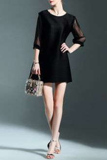 Chiffon Spliced Black Mini Dress - BLACK ONE SIZE