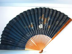 Vintage handfan, 1950's hand fan, Lovely folding hand painted fan, gift for her, Theatre prop, wall decor, navy hand fan, by thevintagemagpie01 on Etsy Painted Fan, Hand Painted, Theatre Props, Vintage Fans, Magpie, 1950s Fashion, The Struts, Cottage Chic, Hand Fan