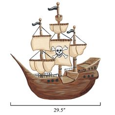 "Pirates capture the attention - and the treasure - like no one else. This detailed ship will sail right into your child's imagination. It's flying the Jolly Roger - so parents better just surrender now. The fun decal is great alone or as part of a pirate or sea theme. Finished Size: Based on selection. Contents: 1 Decal. Care: Wipe with Damp Cloth Assembly Required.  Medium: 27"" x 29.5""  Large: 45"" x 49"""
