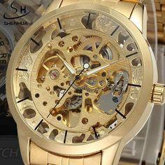 Luxury Men's Gold Full Steel Transparent Watch Skeleton Automatic Mechanical watches Steampunk Clock men Relogio Masculino 2015