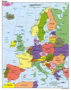 Europe Travel Guide - Map of Europe - Map of western europe, eastern europe map, political and physical maps printable Europe Map Printable, World Map Europe, Europe Europe, Travel Europe, Central Europe, Poland Germany, Backpack Through Europe, Neuschwanstein, Voyage Europe