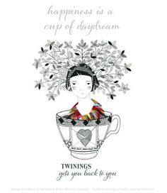 Happiness is a cup of daydream...    We love the idea of a cup of tea and moment to oneself and perhaps a daydream or two with pleasant thoughts, hopes or ambitions dancing in our mind.    What are your hopes and dreams?