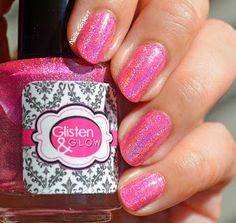 Nails Context: Glisten & Glow -Raspberry Margarita : Raspberry Margarita is a very saturated bright pink with linear holographic polish. This one is my favorite of the two. It was originally from Glisten & Glow's Cocktails Anyone? Collection. I used 3 thin coats for the pics below and sealed it with Glisten & Glow HK Girl top coat. Raspberry Margarita, Holographic Nails, Top Coat, Bright Pink, Glow, Cocktails, Nail Polish, Coats, My Favorite Things