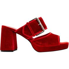 Finery Holly Mule Block Heeled Sandals, Red ($115) ❤ liked on Polyvore featuring shoes, sandals, heels, red, high heels sandals, block-heel sandals, low heel sandals, red heeled sandals and high heel mules