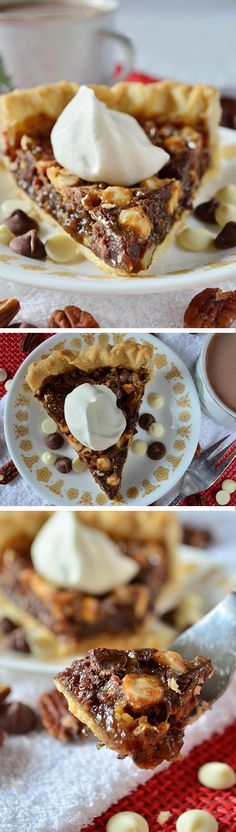 This Recipe for easy southern chocolate pecan pie is the best homemade dessert for any party or holiday celebration! A classic with a chocolate twist. Because everything is better with chocolate. :0) Top with caramel flavored whipped cream for the perfect garnish!