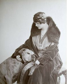 art nouveau woman & her pitbull art photo #vintage #retro