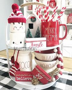 Easy DIY Indoor Christmas Decor and Display Ideas, Ways To Decorate Your Tiered Tray For Christmas, Kitchen Counters, or Fireplace Mantle Decorating, Christmas Decor Farmhouse Christmas Decor, Rustic Christmas, Winter Christmas, Christmas Home, Christmas Crafts, Ideas For Christmas, How To Decorate For Christmas, Christmas Mantles, Christmas Villages