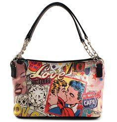 """Love Struck"" Small Handbag w/Double Straps by the King of Pop Art Nelson de la Nuez"""