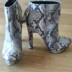 Snakeskin Platform Booties with Tassel Colin Stuart for Victoria's Secret - Very Sexy- cute tassel on back zipper.  Heel is 5.75in with 1.25in platform in front. Bought size 8.5 as they ran a bit small. New without tags- never worn. Colin Stuart Shoes Ankle Boots & Booties