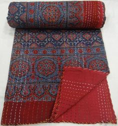 ajrakh kantha quilt by maharaniarts on Etsy, $99.00