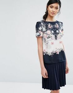 Oasis Floral Print Woven Tee