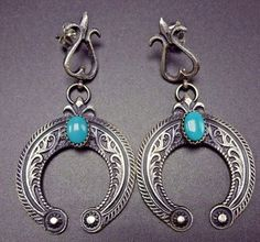 Punctuated with lovely deep blue specimens of turquoise, these earrings will be a cherished addition to your collection of quality Native American jewelry. NAVAJO EARRINGS. SIGNED: EL Billah, for Eva Linberg BILLAH (Navajo). | eBay!