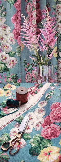 hollyhocks vintage inspired fabric by sanderson