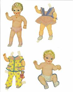 Miss Missy Paper Dolls: Baby Doll-Name: Baby dolls  Date: 1946 Publisher: unknown Artist:Janet Sturman Format: book with punch out dolls and some cut clothes Condition: partially cut