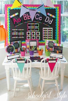 This will go nicely with my primary color scheme. rainbow chalkboard classroom decor/theme by schoolgirl style 4th Grade Classroom, New Classroom, Classroom Design, Preschool Classroom, Superhero Classroom, Preschool Crafts, Teacher Classroom Decorations, Classroom Themes, Neon Classroom Decor