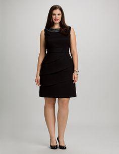Plus Size   Dresses   Plus Size Tiered Embellished Neck Dress   dressbarn