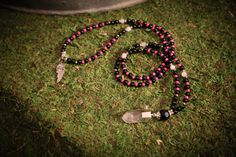 Black Onyx with White Jade Accents, Full Mala, Hot Pink Spacer Beads, Quartz Pendant