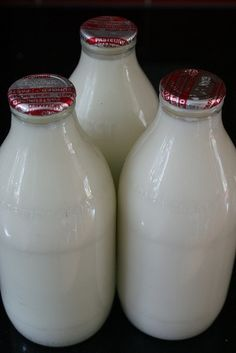 Glass milk bottles with foil tops.The milkman would leave it every morning,usually before anyone woke up.