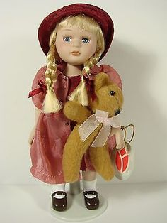 DELTON PORCELAIN DOLL WITH HER TEDDY BEAR, (ON STAND) | Other Contemp. Porcelain Dolls | Contemporary (1980-Now) - Zeppy.io