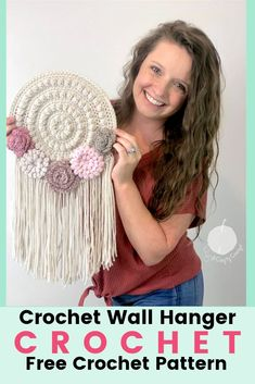 Crochet flowers 487162884691083080 - Free Crochet Pattern for a spring inspired crochet wall hanger. With beautiful crochet flowers and trendy fringe this crochet wall hanger will brighten up any room! Source by bettyahan Crochet Wall Art, Crochet Wall Hangings, Love Crochet, Crochet Flowers, Crochet Hooks, Beautiful Crochet, Crochet Dreamcatcher Pattern Free, Simple Crochet, Baby Girl Crochet