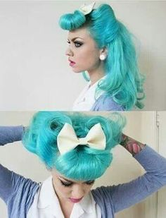 Need a few rockabilly hairstyle ideas? Well, we got you covered! We found some cute ideas for you and all you friends. Everything from up-dos and curls, you will find something here. Hair Color Blue, Blue Hair, Neon Hair, Violet Hair, Pastel Hair, White Hair, Turquoise Hair, Pin Up Hair, Retro Hair