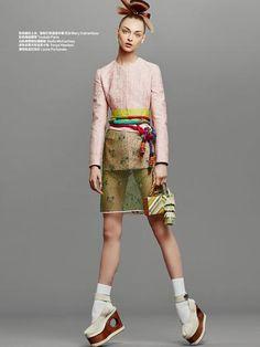 Believe it or Knot - Daga Ziober by Duy Vo for Harper's Bazaar China Jan 2015 - Mary Katrantzou