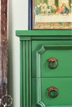 Fusion Mineral Paint's color Park Bench with Black Wax in the details makes over this old chest of drawers.  #fusionmineralpaint #greenpaintedfurniture #paintedchestofdrawers