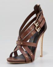 X14AK Giuseppe Zanotti Zip-Back High-Vamp Crisscross Sandal