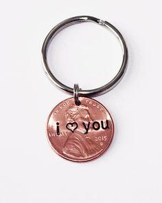 I LOVE YOU penny KEYCHAIN.  I heart you  by JewelryImpressions