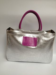 SILVER/MAGENTA DREAM LEATHER BAG