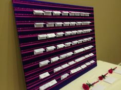 Wedding reception at The Centre @ Arbor Connection in Douglasville, GA. Name card holder Douglasville Georgia weddings, West Atlanta Weddings, Fuchsia and Purple Weddings www.TheArborConnection.com