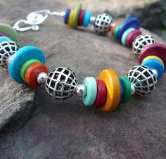 Colorful Bead Bracelet, Mykonos Bead Bracelet, Rainbow Bracelet
