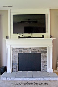faux fireplace progress  - Blesser House featured on @Remodelaholic