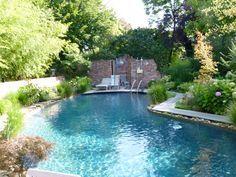 Luxury Schwimmteich Freie Form Salzwasser im Garten Salzelektrolyse