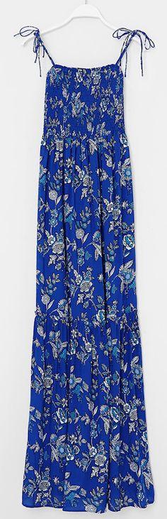 robe longue bleu à fleurs blanche oysho