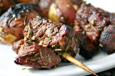 Rib-Eye, New Potato and Portobello Kebabs with Rosemary