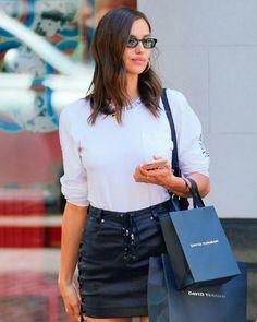 Models Off Duty, Irina Shayk, Leather Skirt, Street Style, My Style, Skirts, Photography, Celebrity, Closet