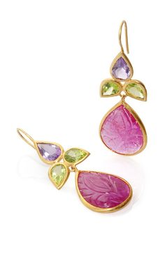 18K Yellow Gold Ruby Peridot And Amethyst Earrings by Bahina for Preorder on Moda Operandi