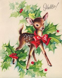 Vintage Christmas Greetings by poshtottydesignz Images Noêl Vintages, Images Vintage, Vintage Christmas Images, Old Fashioned Christmas, Christmas Deer, Christmas Animals, Retro Christmas, Vintage Holiday, Christmas Pictures