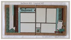 """Scrapbooking Kits: Layout #2 in the """"Jackson"""" 6 Page Scrapbook Kit - $20 #ctmh #scrapbooklayouts"""