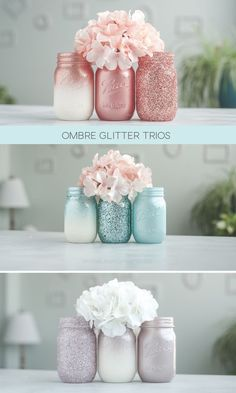 Glitter and painted mason jar sets. Aqua, rose gold and rose chrome. Glitter and painted mason jar sets. Aqua, rose gold and rose chrome. Pot Mason Diy, Mason Jar Crafts, Bottle Crafts, Diy Jars, Mason Jar Projects, Gifts With Mason Jars, Crafts With Jars, Glitter Mason Jars, Painted Mason Jars