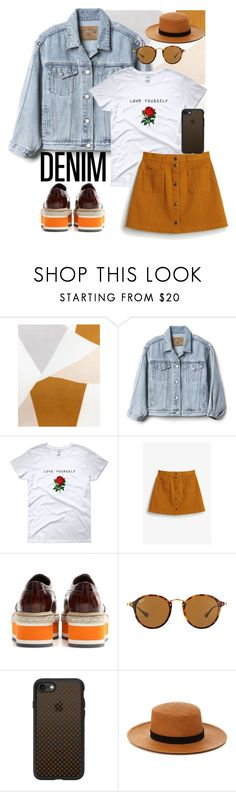 """""""Demin jacket"""" by rushanaofficials ❤ liked on Polyvore featuring Jaeger, Gap, Monki, Prada, Ray-Ban, Casetify and Janessa Leone"""