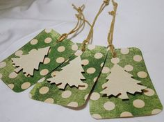Christmas gift tags. Christmas tree gift tags. green by kC2Designs