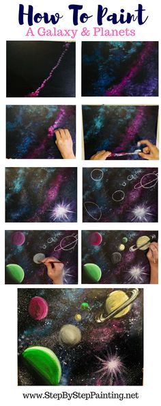 How to paint a galaxy in acrylics how to paint planets in acrylics easy step by step tutorial for beginners #stepbysteppainting #galaxy