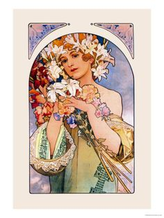 "Pioneering Czechoslovakian artist Alphonse Mucha (1860 – 1939) created a sumptuous Art Nouveau style filled with soft colors, curving lines and ethereal women. Mucha was inspired to paint by the artwork he saw in churches. A starving artist in Paris, Mucha skyrocketed to fame after he created a life size poster for Sarah Bernhardt's play, ""Gismonda."""