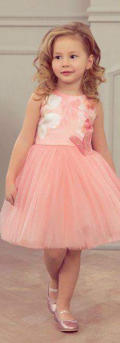JUNONA Girls Designer Pink Tulle Tulip Party Dress from the Spring Summer 2018 Collection.