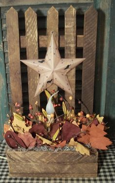 Primitive Autumn tobacco lath planter is a one of a kind. $24.95