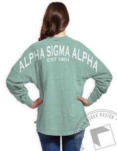 Alpha Sigma Alpha - Derby Jersey (Seafoam) by ABD BlockBuy! Available until 10/11, $32-36 Adam Block Design | Custom Greek Apparel & Sorority Clothes |www.adamblockdesign.com