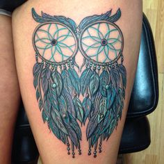 Two owls dreamcatcher tattoo done by Wesley Canada at Next Chapter Tattoo in Clovis NM