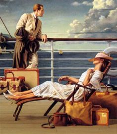 How To Get There: Ship to Shore with Ghurka Luggage, Michael J. Deas @@@.....https://es.pinterest.com/peggyaltick/art-of-transportation/